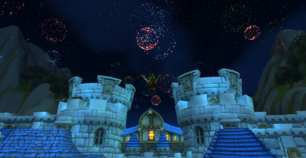 Fireworks above the gates of the city