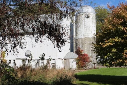 A big, white barn with silo attached.