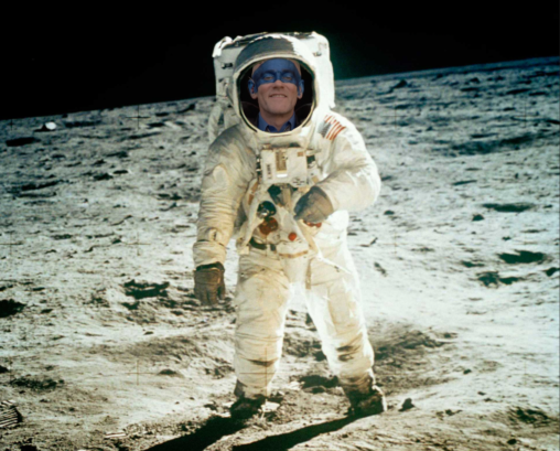 Michael Stipe in spacesuit on the moon.