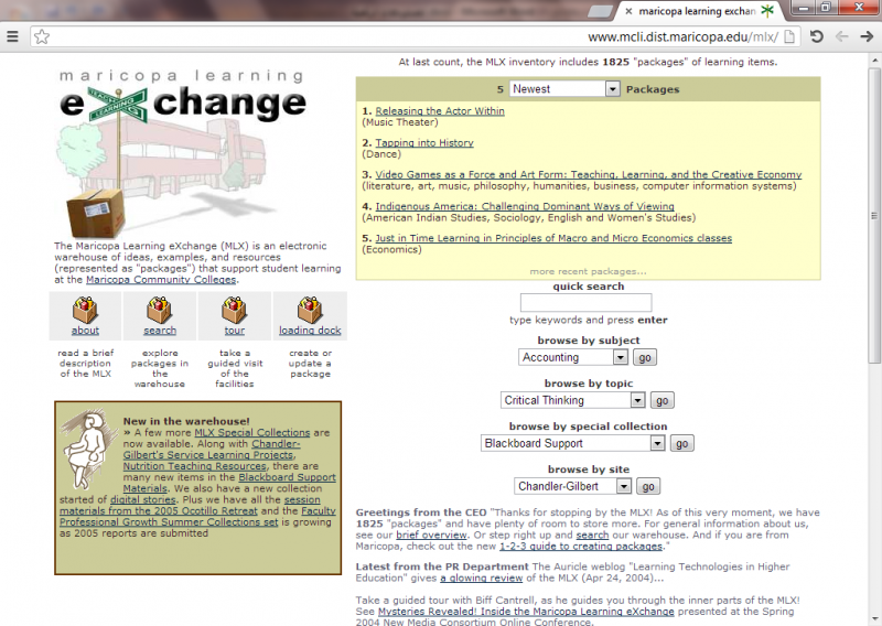Screenshot of the Maricopa Learning eXchange