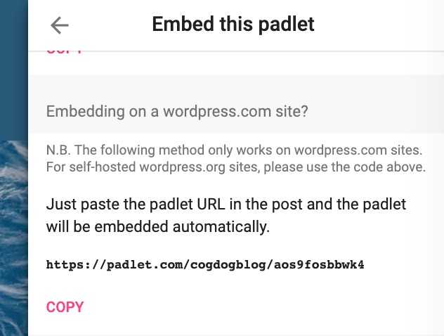 Note that padlet embeds by url only work on WordPress.com